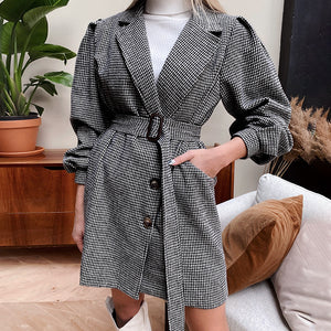 Simplee Causal black belt autumn winter female dress Office lady plaid puff sleeve women dress Elegant tailored collar dress