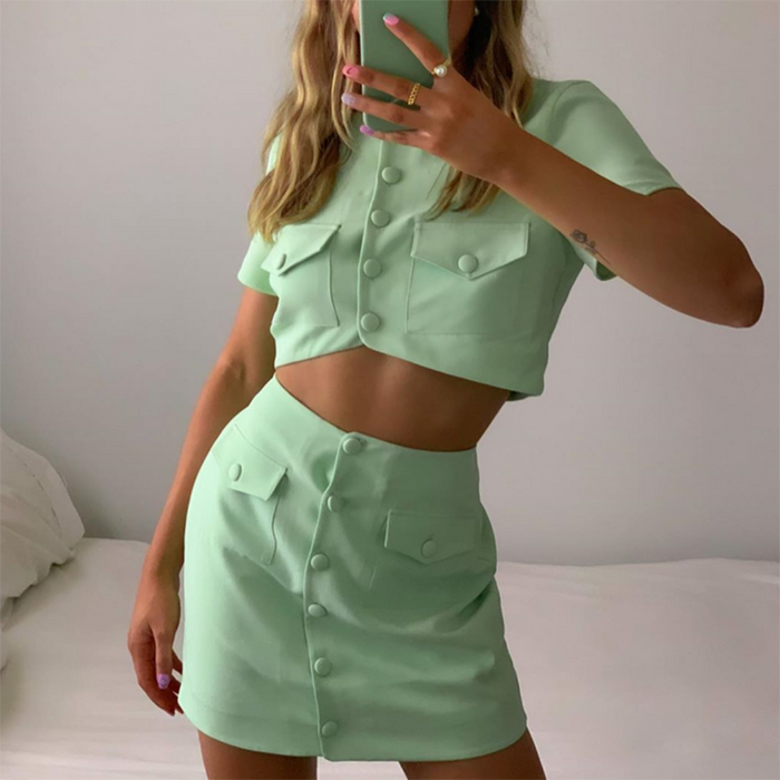 Lighter Than Air Crop And Skirt Set