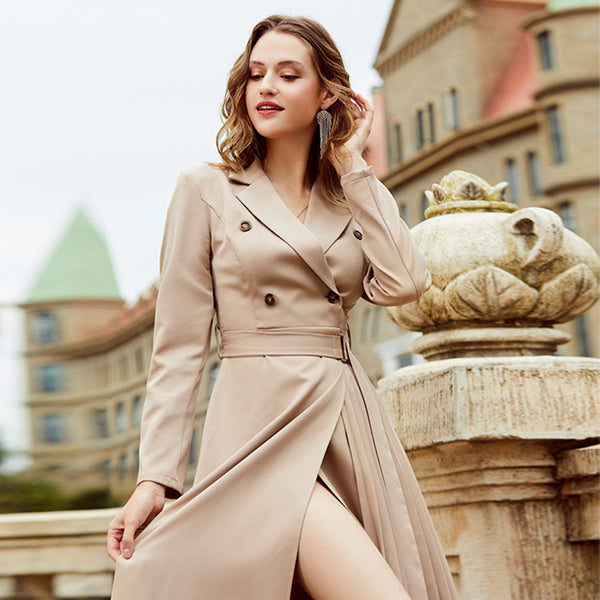 Make It Work Pleated Midi Blazer Dress