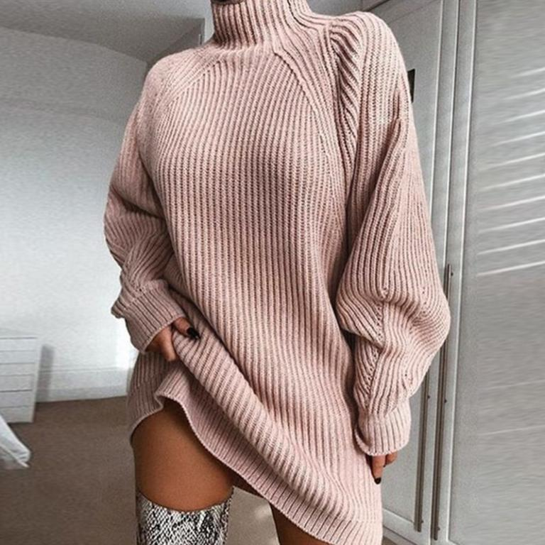 Pedal To The Metal Turtle Neck Sweater Dress