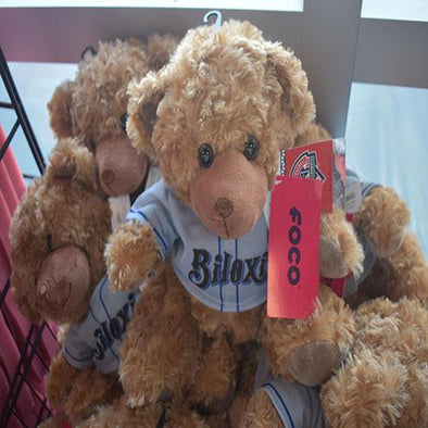 Biloxi Shuckers Plush-Bear with Road Jersey