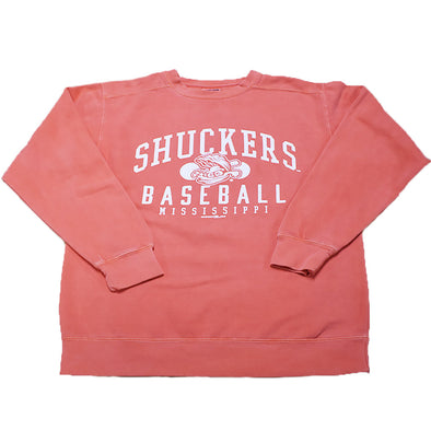 Biloxi Shuckers Sweatshirt-Comfort Color Crew Bright Salmon