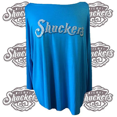 Biloxi Shuckers Tee-Wmn Piko L/S Royal