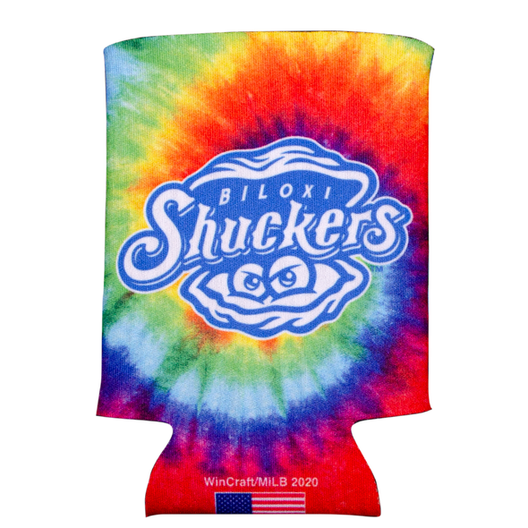 Biloxi Shuckers Koozie-Tie Dye with Primary Logo