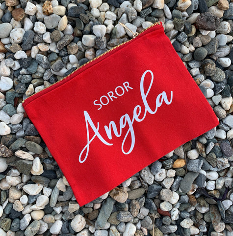 Custom Soror Makeup Bag - red