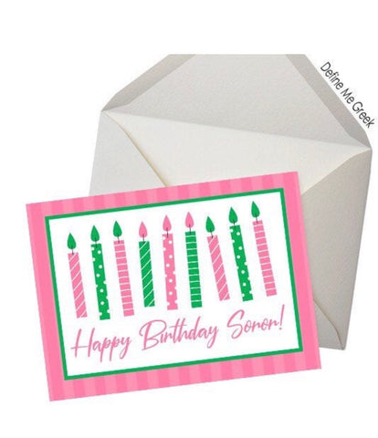 Happy Birthday Notecards (pink and green)