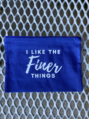 I Like the Finer Things Bag (blue and white)