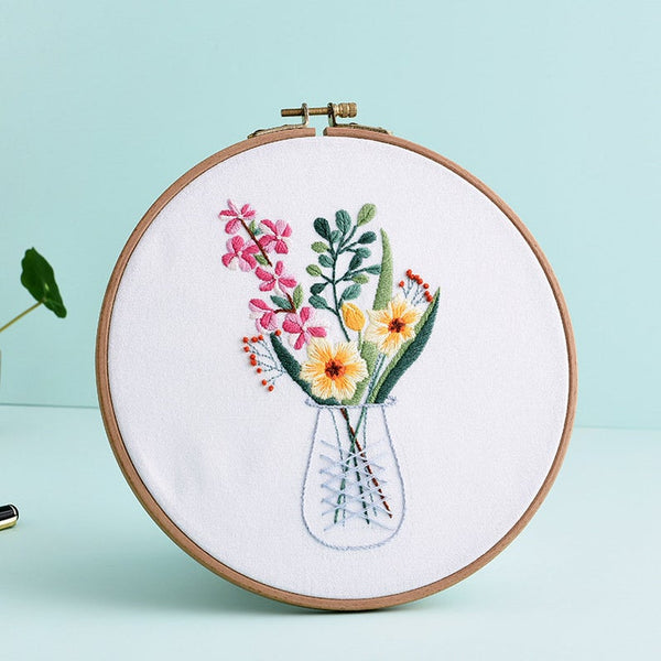 Embroidery Kit For Beginner|Modern Embroidery Kit with Pattern|Embroidery Full Kit Needlepoint Hoop|DIY Craft Kit All Materials Included