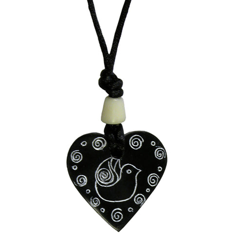 Coal Heart Pendant with Dove from Colombia