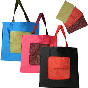Open image in slideshow, Taffeta Shopping Bag in Pouch from India