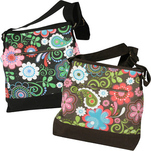 Open image in slideshow, Canvas Shoulder Bag w/ Flower Print from India