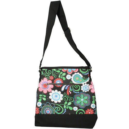 Canvas Shoulder Bag w/ Flower Print from India