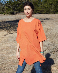 Wide Cotton Dress with Pockets - Orange