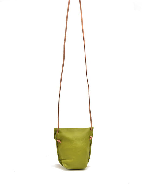 Small Colorful Leather Purse - Lime
