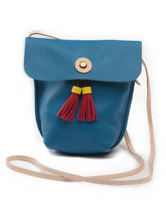 Small Colorful Leather Purse - Turquoise