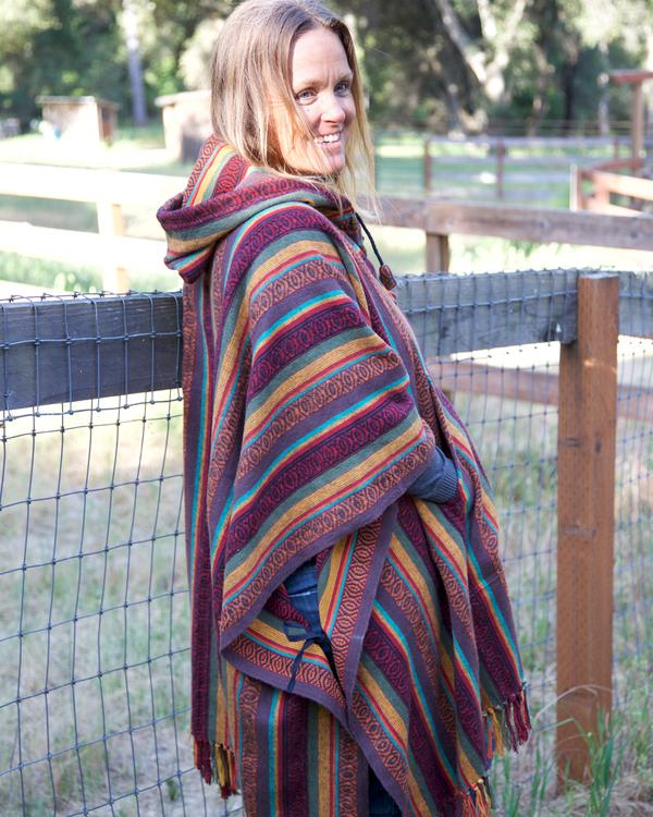 Striped Poncho with Hood