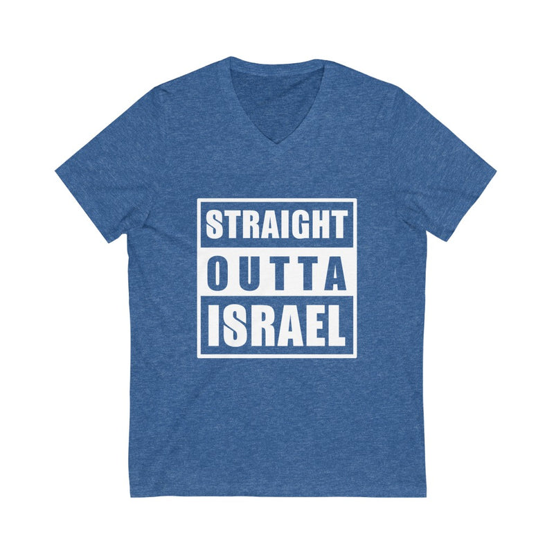 Straight Outta Israel Unisex Jersey Short Sleeve V-Neck Tee