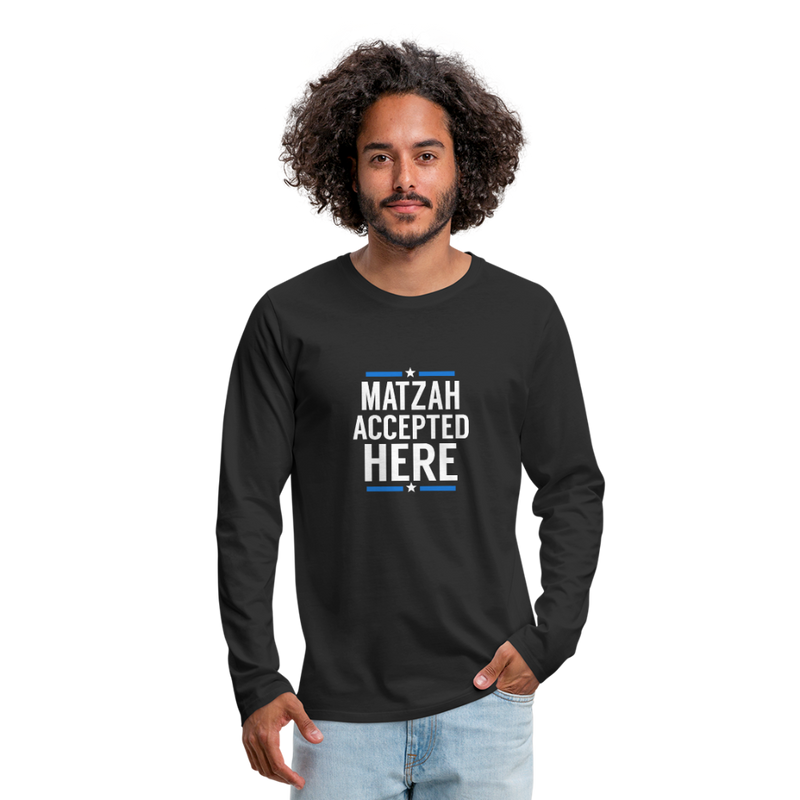 Matzah Accepted Here Men's Premium Long Sleeve T-Shirt - black