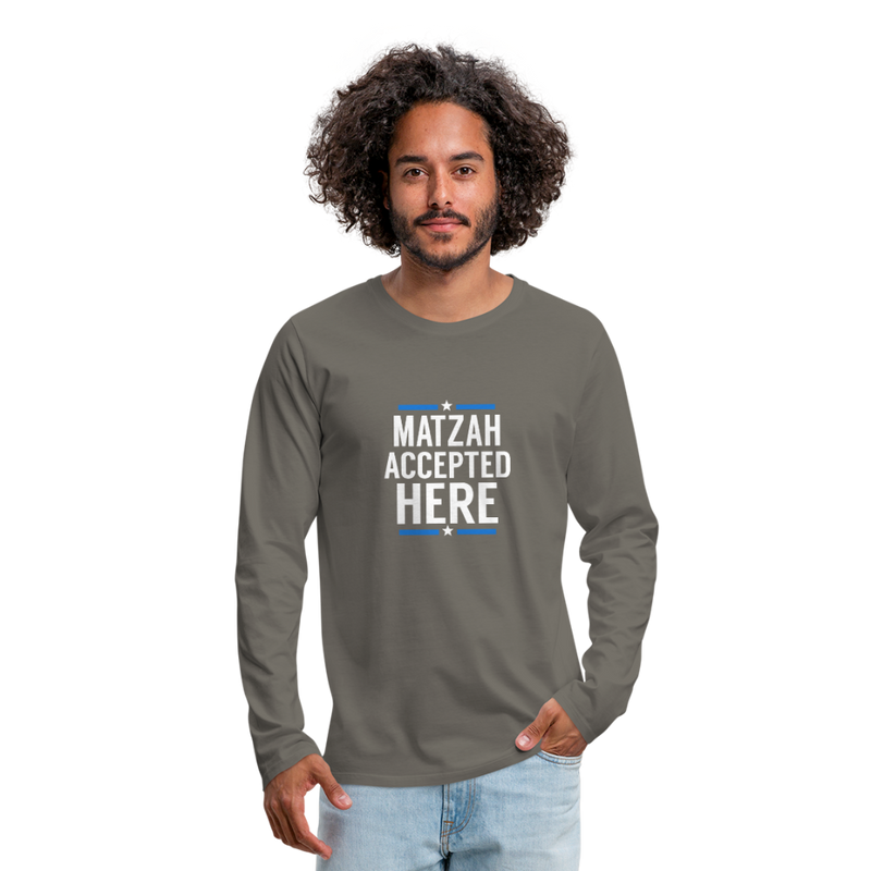 Matzah Accepted Here Men's Premium Long Sleeve T-Shirt - asphalt gray