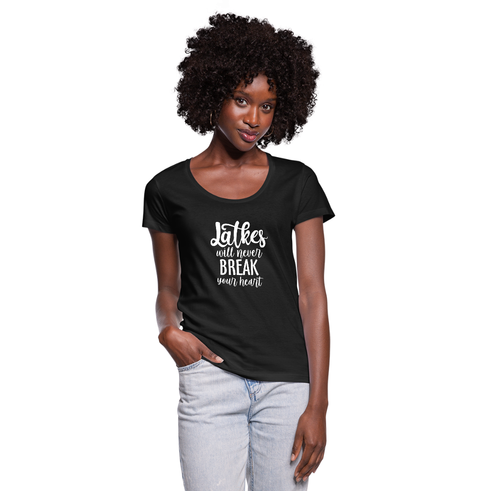 Latkes Will Never Break Your Heart Women's Scoop Neck T-Shirt - black