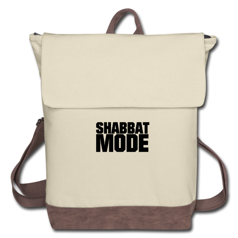 Shabbat Mode Canvas Backpack - ivory/brown