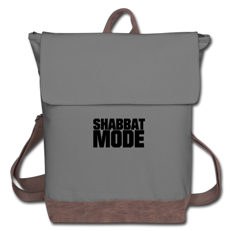 Shabbat Mode Canvas Backpack - gray/brown