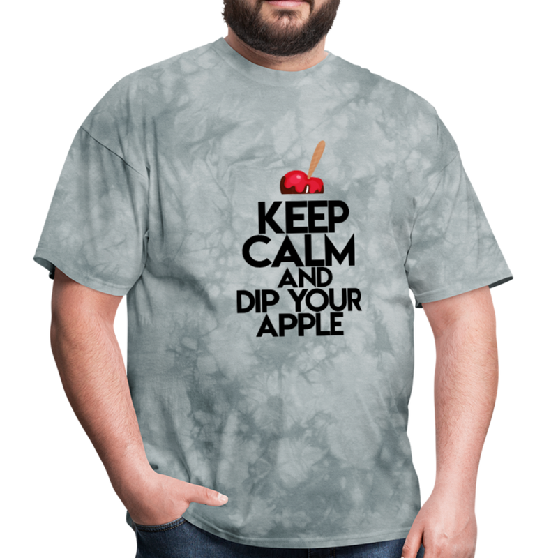Keep Calm and Dip Your Apple Men's T-Shirt - grey tie dye