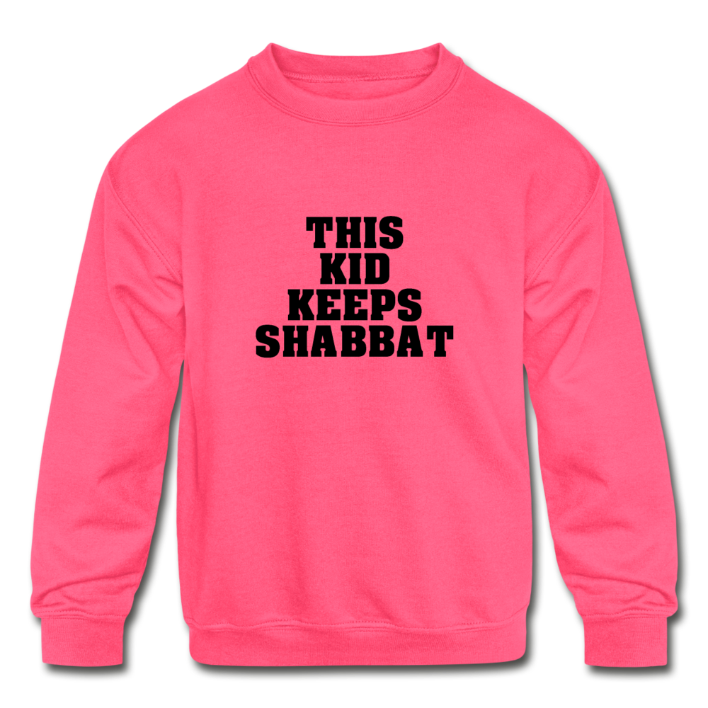 This Kid Keeps Shabbat Kids' Crewneck Sweatshirt - neon pink