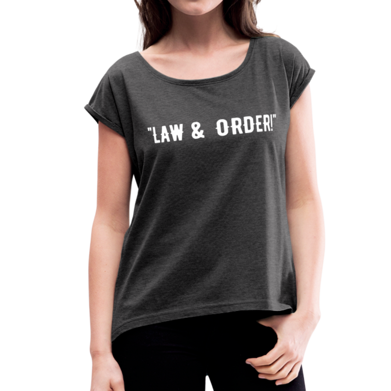 Law & Order Women's Roll Cuff T-Shirt - heather black