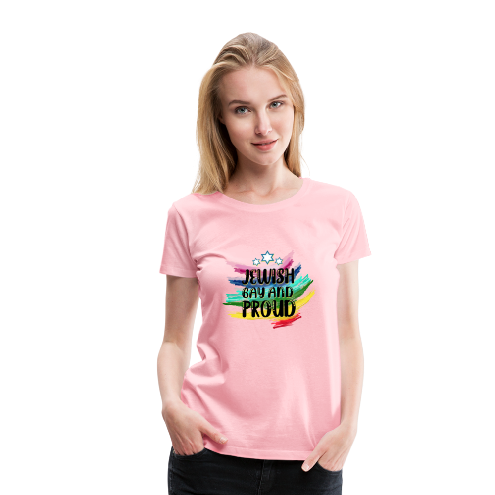 Jewish Gay and Proud Women's Premium T-Shirt - pink