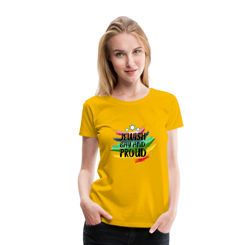 Jewish Gay and Proud Women's Premium T-Shirt - sun yellow