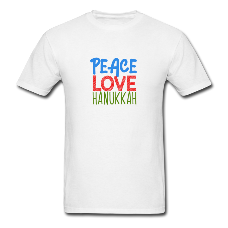Peace Love Hanukkah Men's T-Shirt - white