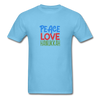 Peace Love Hanukkah Men's T-Shirt - aquatic blue