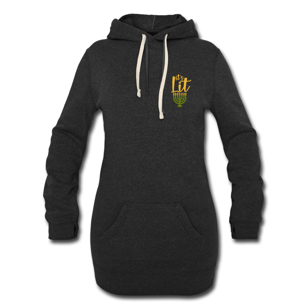 It's Lit Women's Hoodie Dress - heather black