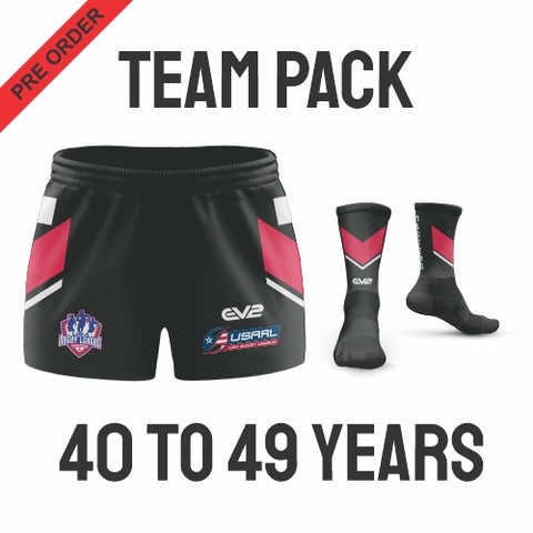 USA Masters Rugby League - Red Pack (Players are required to wear the color shorts that match their age group in accordance with USA Masters Rules)