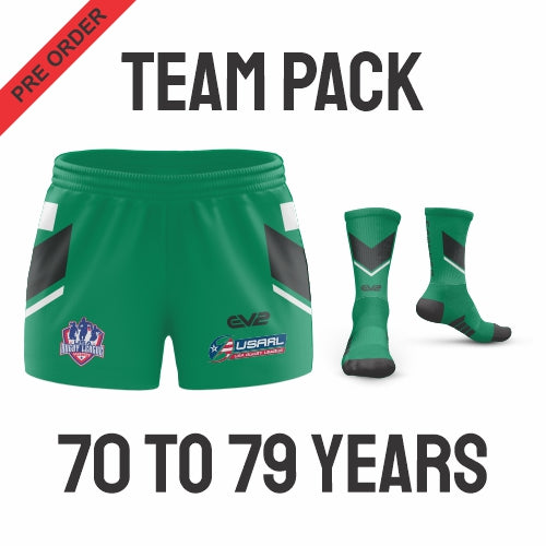 USA Masters Rugby League - Green Pack (Players are required to wear the color shorts that match their age group in accordance with USA Masters Rules)