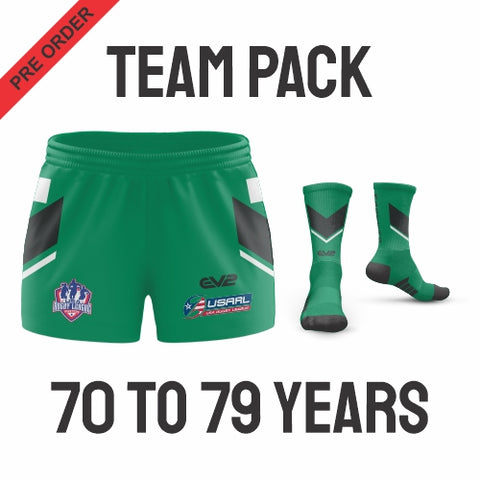 USA Masters Rugby League - Black Pack (Players are required to wear the color shorts that match their age group in accordance with USA Masters Rules)