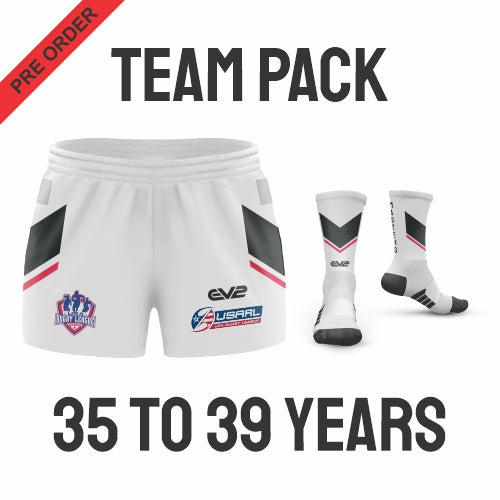 USA Masters Rugby League - White Pack (Players are required to wear the color shorts that match their age group in accordance with USA Masters Rules)