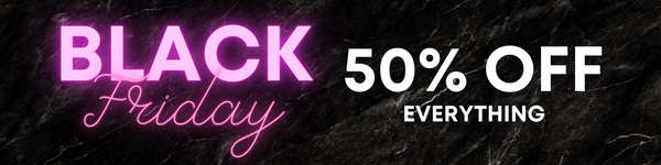 Black Friday sale promo image with bright pink neon and passionate font