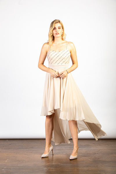 LuvForever Nude Sequin Asymmetric Long Dress - Full Front View