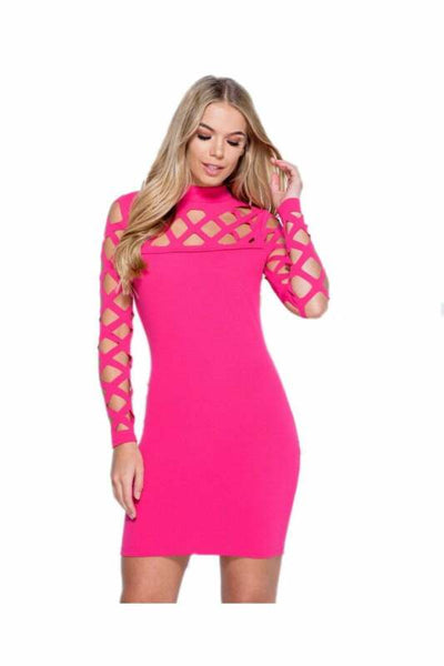 Laser Cut Full Sleeved Mini Dress in Pink - Close view