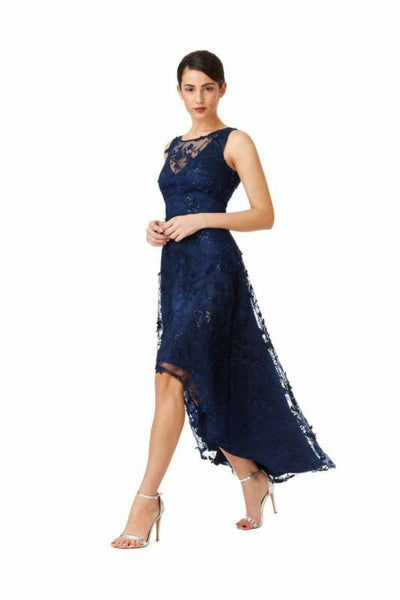 Blue Floral Lace Asymmetric Maxi Dress - Far Front View
