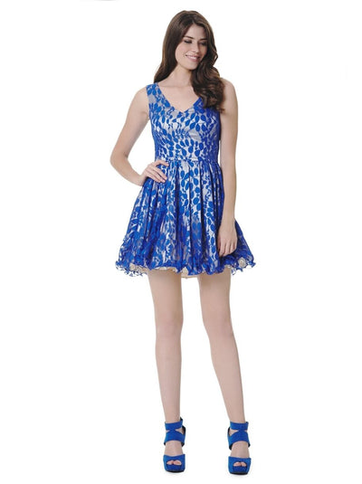 Blue Sleeveless Tie Back Lace Mini Dress - Front View