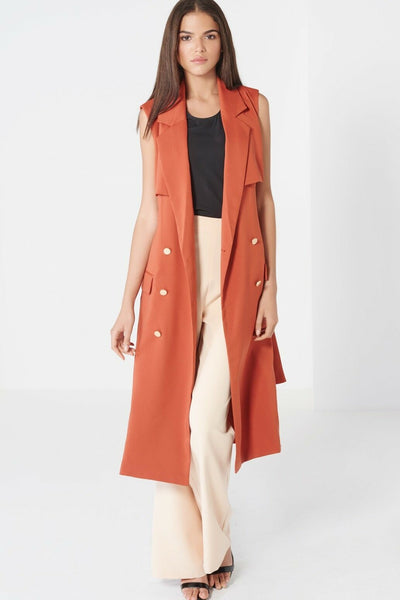 Terracotta Sleeveless Trench Coat - Front View