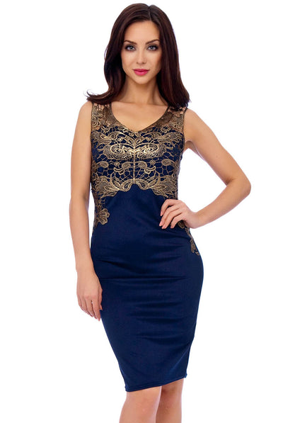 Navy Embroidered Midi Dress - Close Front View