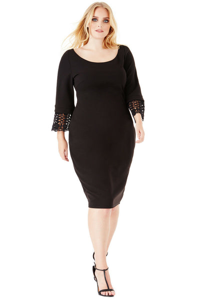 Plus Size Black Tulip Midi Dress - Front View