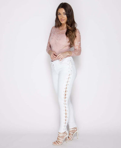 White Lace-Up Skinny Jeans - Full Side View