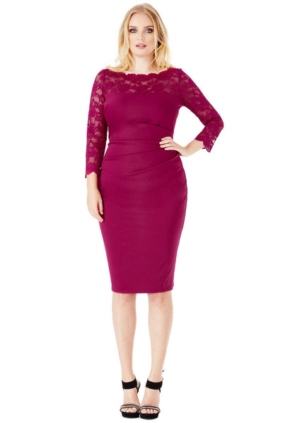 Plus Size 3/4 Lace Sleeved Midi Dress in Magenta - Full Front View
