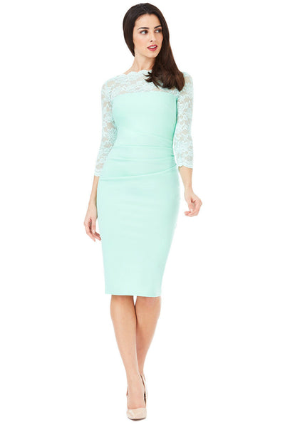 Scalloped Lace Neckline Midi Dress Mint Front View