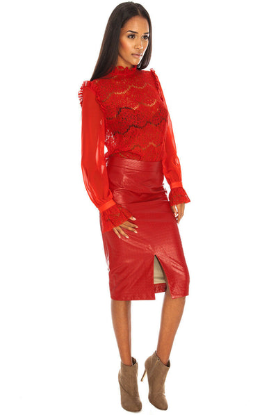 Faux Leather Knee Length Midi Skirt in red